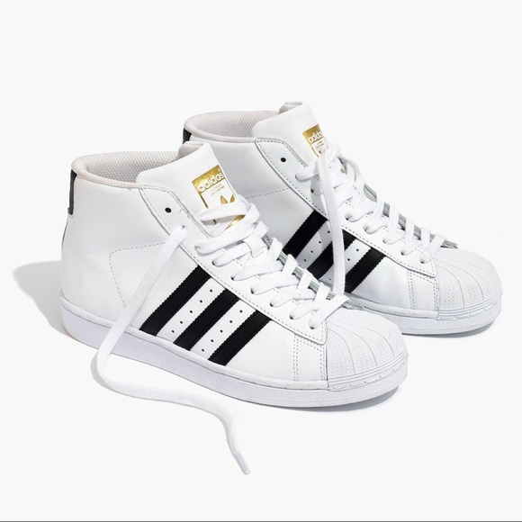 adidas superstar black and white high top
